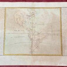 Arte: AÑO 1767 - MAPA DE AMÉRICA MÉXICO BRASIL PERU CANADA CHILE - POR CLOUET, 1ª EDICIÓN. Lote 225765422