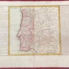 Arte: AÑO 1767 - MAPA DE PORTUGAL ESPAÑA - POR CLOUET, 1ª EDICIÓN. Lote 225770790