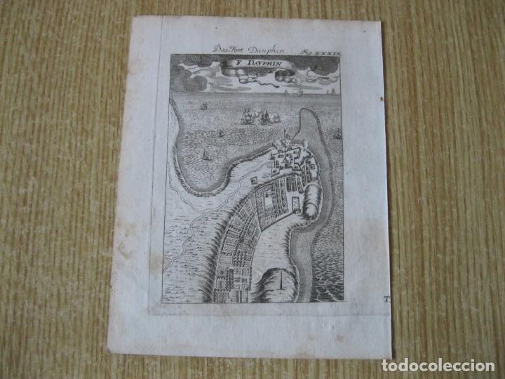 Arte: Vsiata y pano del fuerte francés de Dauphin (Madagascar, África), 1719. Mallet - Foto 2 - 225864777