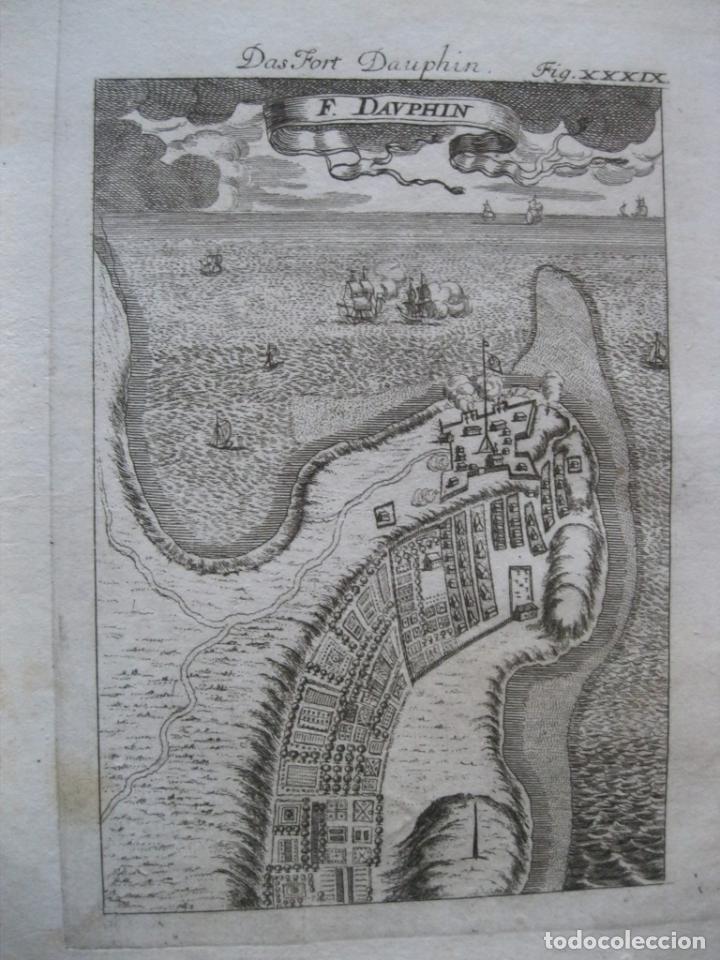 VSIATA Y PANO DEL FUERTE FRANCÉS DE DAUPHIN (MADAGASCAR, ÁFRICA), 1719. MALLET (Arte - Cartografía Antigua (hasta S. XIX))