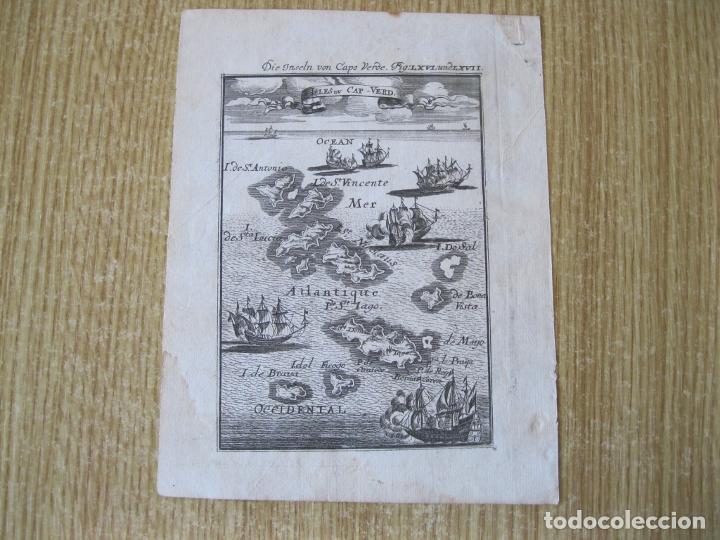 Arte: Vista y mapa de lasi slas de Cabo Verde (África occidentel), 1719. Mallet - Foto 2 - 226239045
