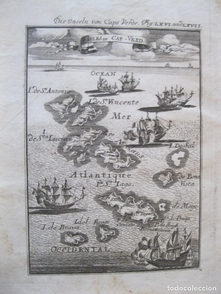 VISTA Y MAPA DE LASI SLAS DE CABO VERDE (ÁFRICA OCCIDENTEL), 1719. MALLET (Arte - Cartografía Antigua (hasta S. XIX))