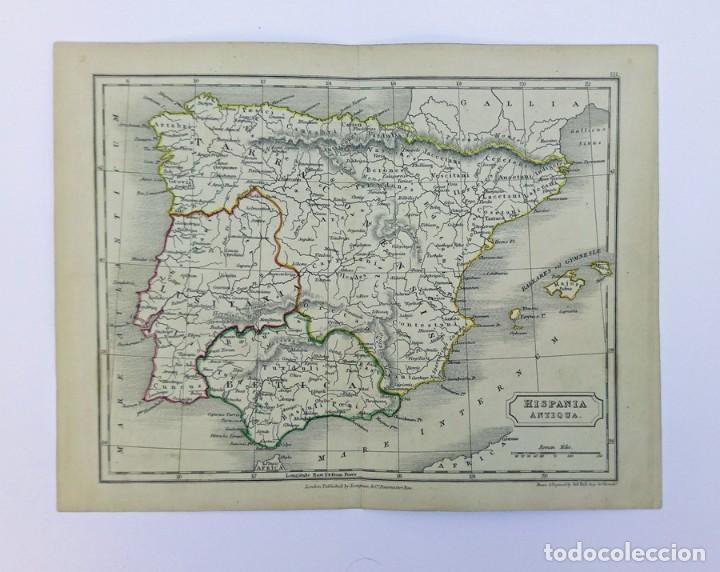 ANTIGUO MAPA DE HISPANIA ANTIQUA ESPAÑA ROMANA GRABADOR SIDNEY HALL PUBLICADO POR LONGMAN & CO. 1838 (Arte - Cartografía Antigua (hasta S. XIX))