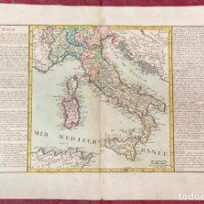 Arte: AÑO 1767 - MAPA DE ITALIA CERDEÑA SICILIA NÁPOLES VENECIA - POR CLOUET, 1ª EDICIÓN. Lote 226489055