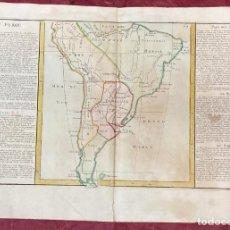 Arte: AÑO 1767 - MAPA DE PERÚ PARAGUAY BRASIL AMAZONAS CHILE POR CLOUET, 1ª EDICIÓN. Lote 226602665