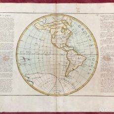 Arte: AÑO 1767 MAPA BOLA DE AMÉRICA MÉXICO CANADA BRASIL PERÚ NUEVA ZELANDA AZORES POR CLOUET, 1ª EDICIÓN. Lote 226603320
