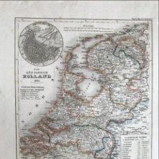 Arte: MAPA DE HOLANDA (EUROPA) Y PLANOS DE SUS CIUDADES MÁS IMPORTANTES, 1837. MEYER. Lote 226802925