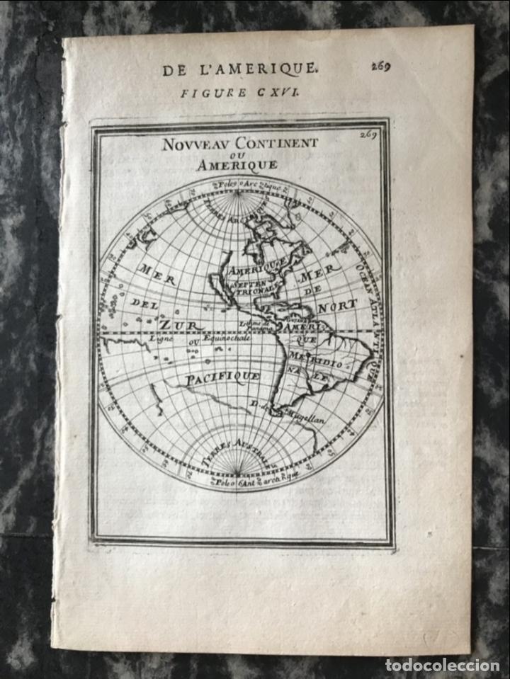 Arte: Mapa del Nuevo Continente o América, 1683. Mallet - Foto 5 - 226912320