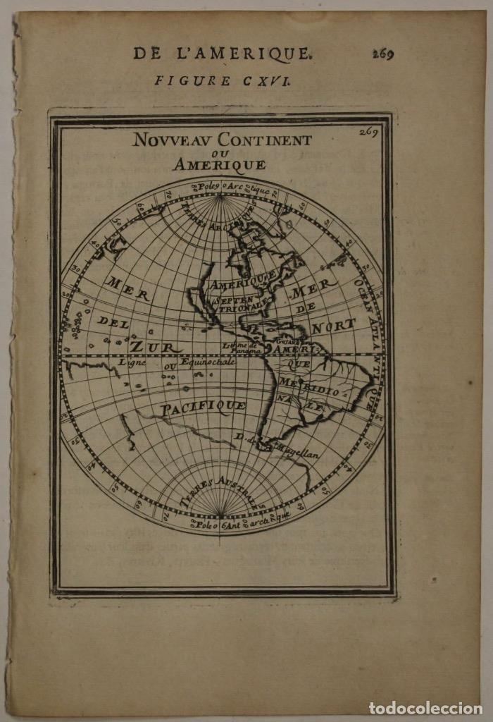 MAPA DEL NUEVO CONTINENTE O AMÉRICA, 1683. MALLET (Arte - Cartografía Antigua (hasta S. XIX))