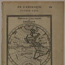 Arte: MAPA DEL NUEVO CONTINENTE O AMÉRICA, 1683. MALLET. Lote 226912320