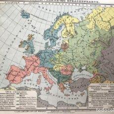 Arte: DOS MAPAS DE LA DENSIDAD DE POBLACIÓN E IDIOMAS EN EUROPA, CA. 1898. KRÜMMEL. Lote 227055515