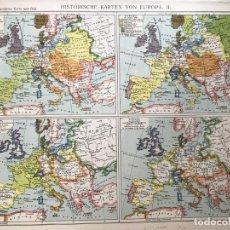 Arte: MAPA HISTÓRICO DE EUROPA, EN 1721, 1789, 1810 Y 1815. ANÓNIMO, HACIA 1890. Lote 227061720
