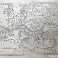 Arte: MAPA DE EUROPA EN TIEMPOS DE LAS CRUZADAS, CA. 1850. BAEHR/HECK. Lote 227074395
