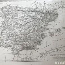Arte: MAPA DE ESPAÑA Y PORTUGAL, HACIA 1850. WEBER/CARLSRUHE/BAEHR. Lote 227076565
