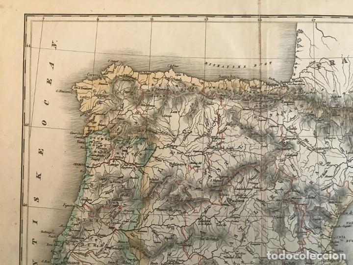 Arte: Mapa de España y Portugal a color, 1867. Rimestad/Holm - Foto 2 - 227837550
