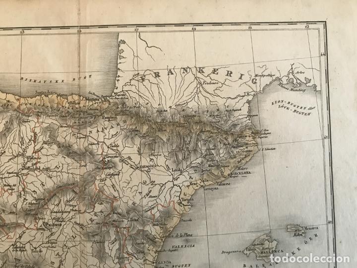 Arte: Mapa de España y Portugal a color, 1867. Rimestad/Holm - Foto 3 - 227837550