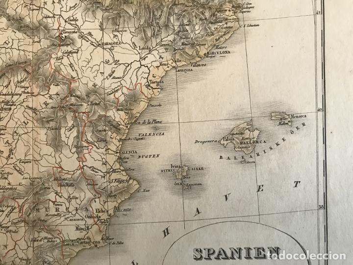 Arte: Mapa de España y Portugal a color, 1867. Rimestad/Holm - Foto 4 - 227837550