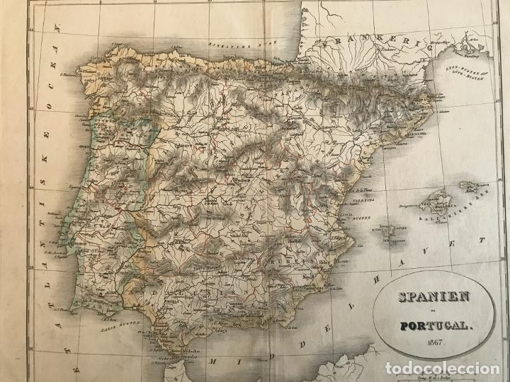 Arte: Mapa de España y Portugal a color, 1867. Rimestad/Holm - Foto 9 - 227837550