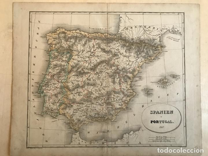 MAPA DE ESPAÑA Y PORTUGAL A COLOR, 1867. RIMESTAD/HOLM (Arte - Cartografía Antigua (hasta S. XIX))