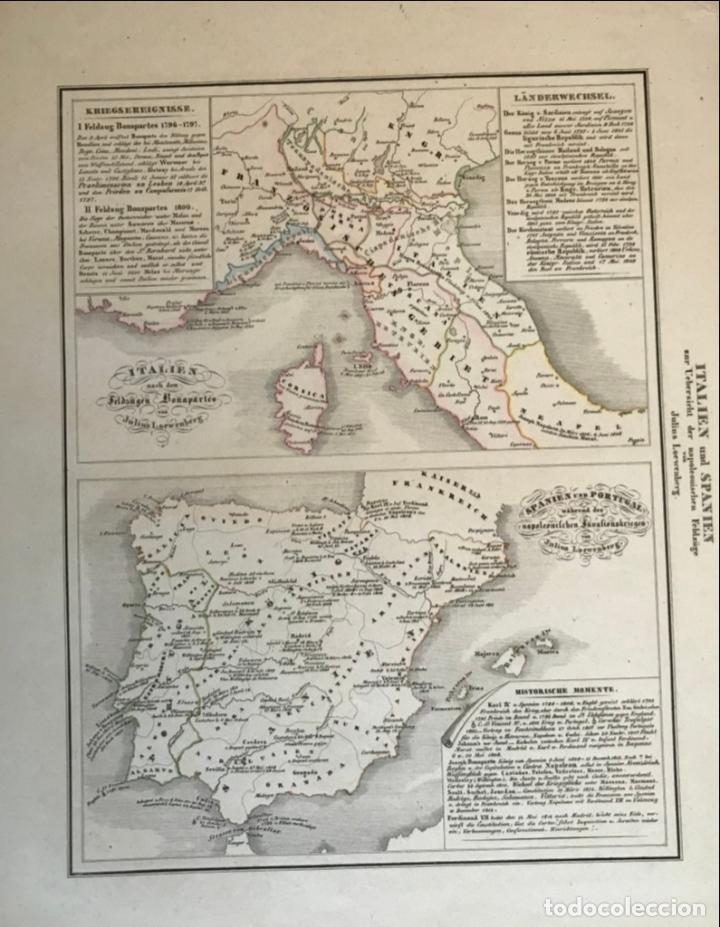 ESPAÑA, PORTUGAL Y NORTE DE ITALIA EN ÉPOCA DE NAPOLEÓN, HACIA 1850. ANÓNIMO (Arte - Cartografía Antigua (hasta S. XIX))