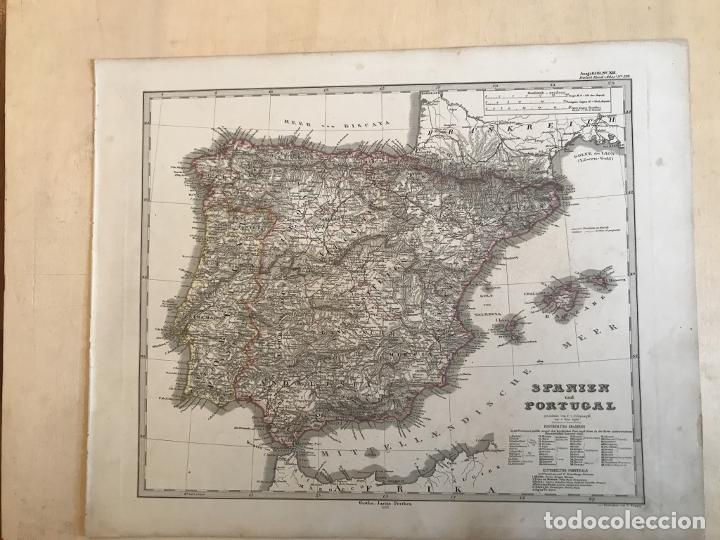 Arte: Mapa de España y Portugal, 1863. Stieler/Perthes/Poppey - Foto 2 - 227841925
