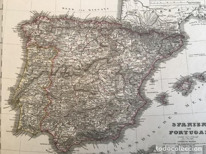 Arte: Mapa de España y Portugal, 1863. Stieler/Perthes/Poppey - Foto 9 - 227841925