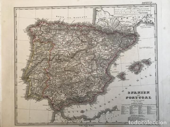MAPA DE ESPAÑA Y PORTUGAL, 1863. STIELER/PERTHES/POPPEY (Arte - Cartografía Antigua (hasta S. XIX))