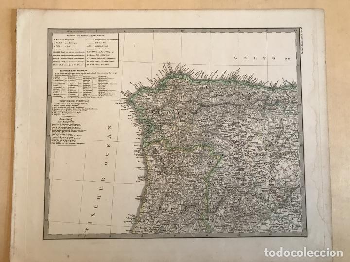 Arte: Gran mapa de España y Portugal en 4 hojas independientes, 1867. Stülpagel/Stieler/Perthes - Foto 2 - 227845095