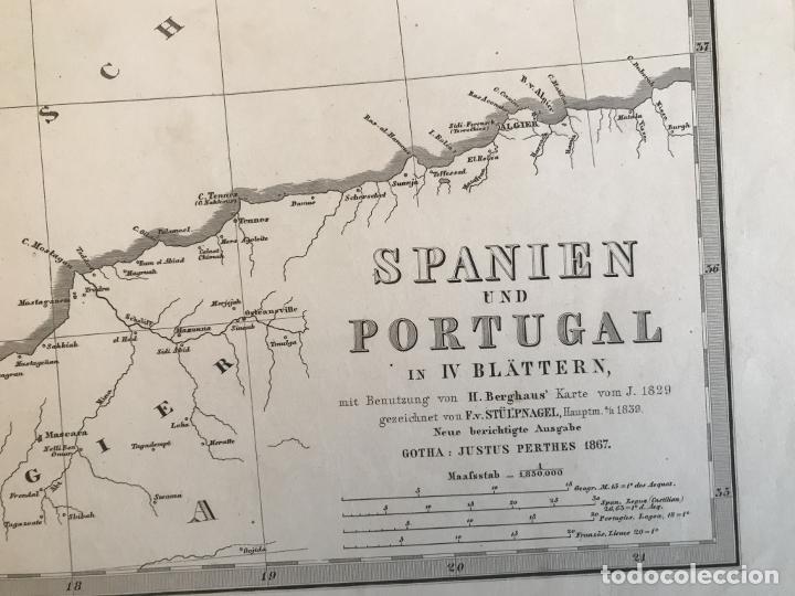 Arte: Gran mapa de España y Portugal en 4 hojas independientes, 1867. Stülpagel/Stieler/Perthes - Foto 39 - 227845095