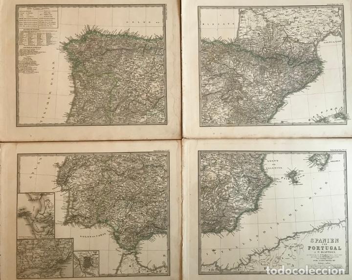 GRAN MAPA DE ESPAÑA Y PORTUGAL EN 4 HOJAS INDEPENDIENTES, 1867. STÜLPAGEL/STIELER/PERTHES (Arte - Cartografía Antigua (hasta S. XIX))