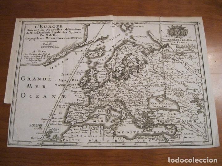 Arte: Mapa de Europa, 1717. Nicolás de Fer - Foto 2 - 229158265