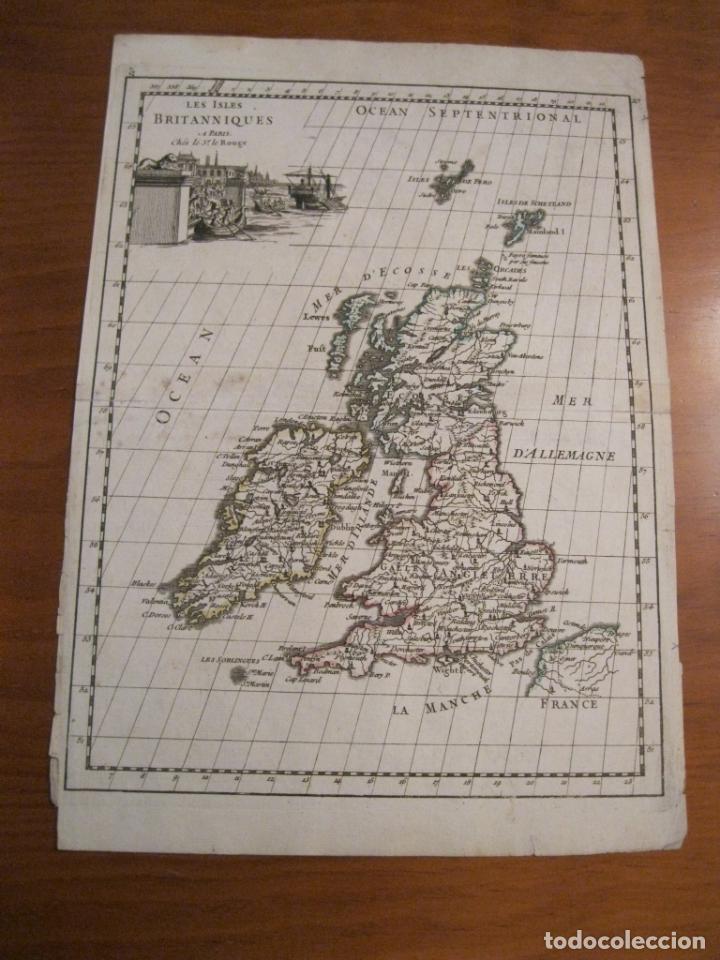Arte: Mapa de las Islas Británicas (Europa), 1756. Le Rouge - Foto 2 - 229159152