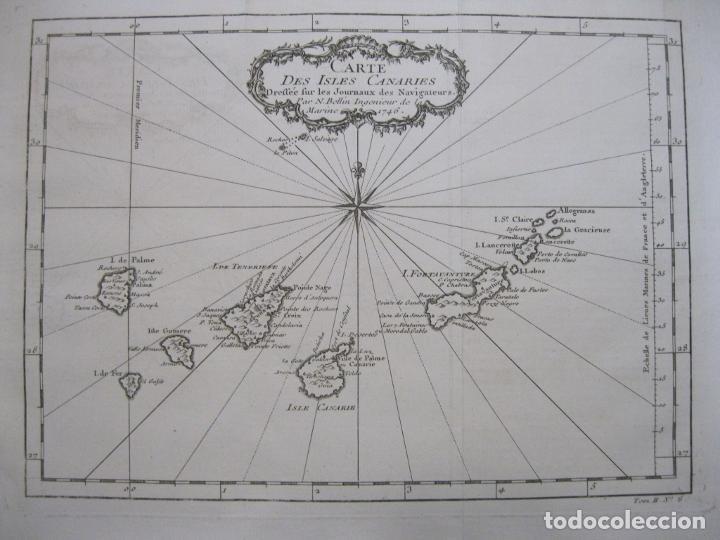 Arte: Mapa de las Islas Canarias (España), 1746. Bellin/Prevost - Foto 3 - 229437155