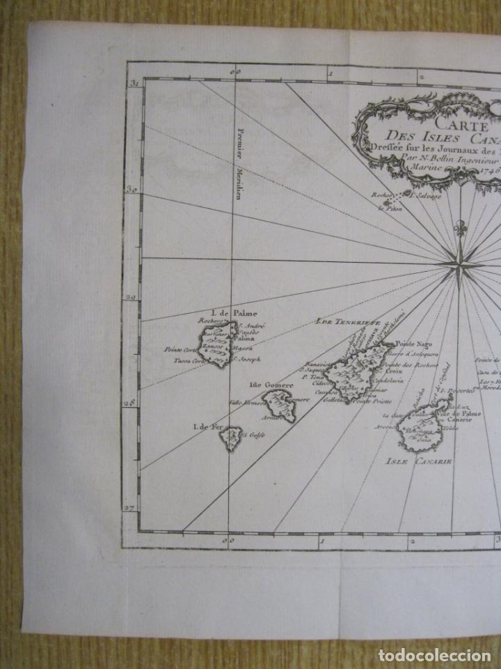 Arte: Mapa de las Islas Canarias (España), 1746. Bellin/Prevost - Foto 4 - 229437155