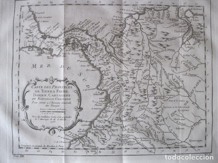 MAPA DE PANAMÁ, COLOMBIA, VENEZUELA, 1746. BELLIN / ANVILLE/ PREVOST (Arte - Cartografía Antigua (hasta S. XIX))