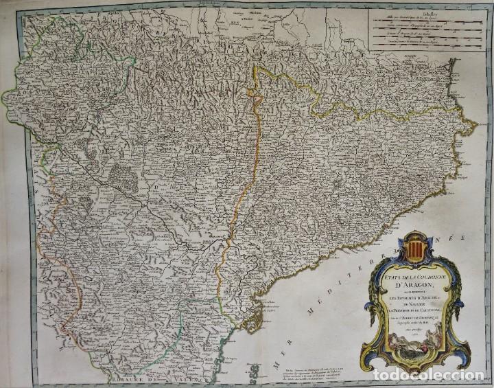CATALUÑA, ARAGÓN, NAVARRA ROBERT DE VAUGONDY, 1756, ETATS DE LA COURONNE D 'ARAGON (Arte - Cartografía Antigua (hasta S. XIX))