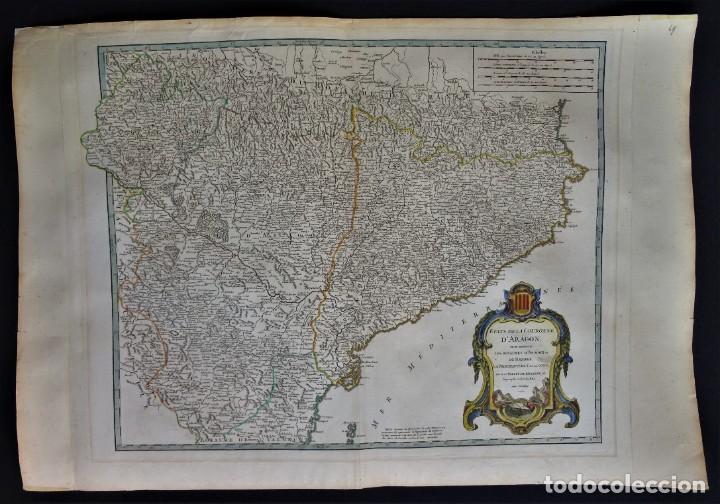 Arte: Cataluña, Aragón, Navarra Robert de Vaugondy, 1756, Etats de la Couronne d Aragon - Foto 2 - 230196140