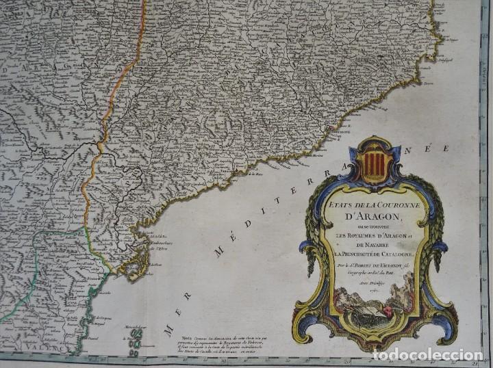 Arte: Cataluña, Aragón, Navarra Robert de Vaugondy, 1756, Etats de la Couronne d Aragon - Foto 3 - 230196140