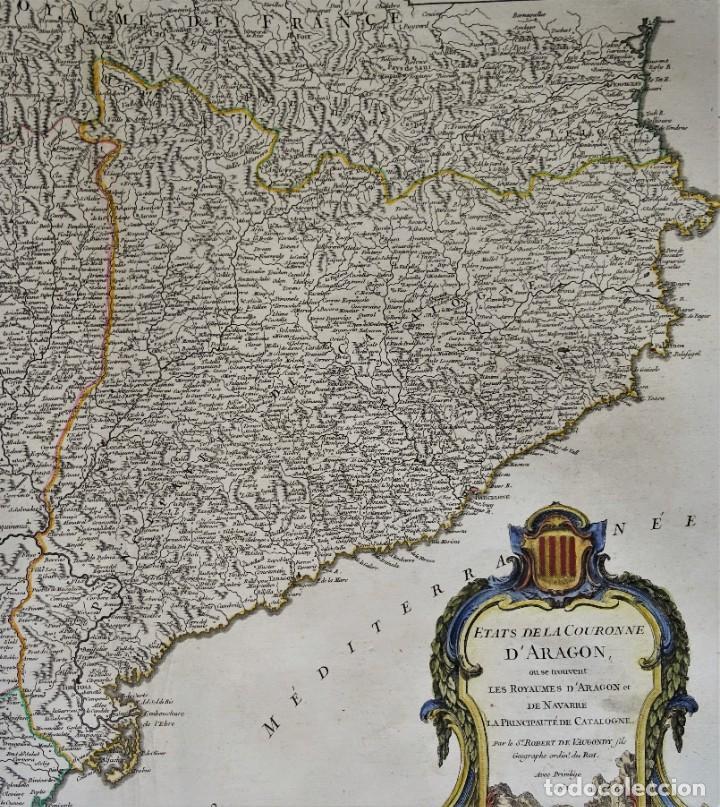 Arte: Cataluña, Aragón, Navarra Robert de Vaugondy, 1756, Etats de la Couronne d Aragon - Foto 4 - 230196140