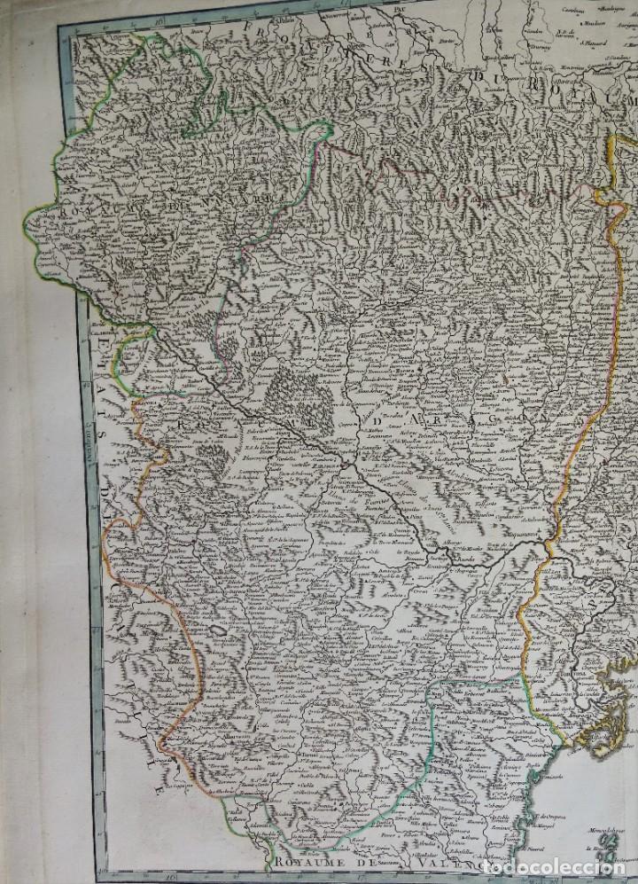 Arte: Cataluña, Aragón, Navarra Robert de Vaugondy, 1756, Etats de la Couronne d Aragon - Foto 5 - 230196140