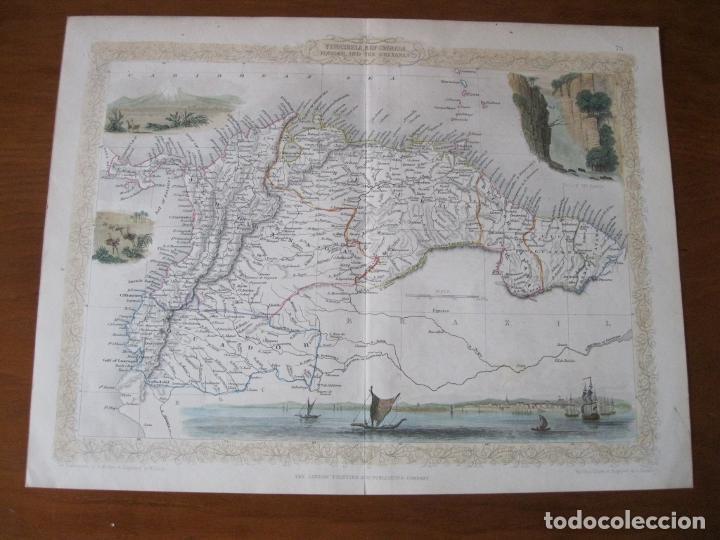 Arte: Mapa de las Guayanas, Venezuela, Colombia, y Ecuador (América del sur), 1855. Tallis/Rapkin - Foto 2 - 230271975