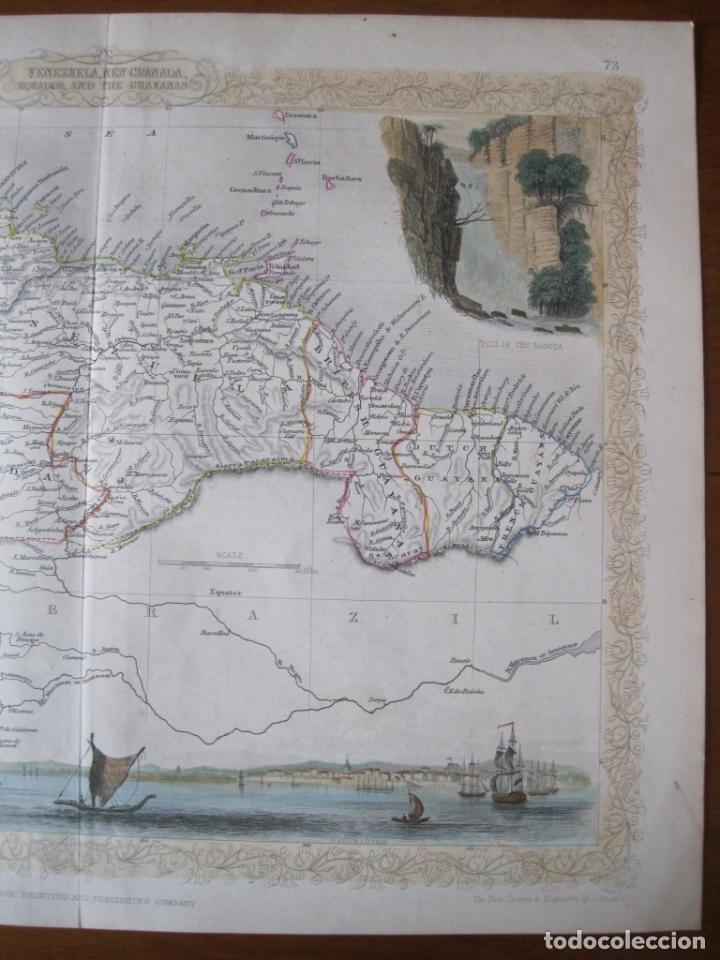 Arte: Mapa de las Guayanas, Venezuela, Colombia, y Ecuador (América del sur), 1855. Tallis/Rapkin - Foto 3 - 230271975
