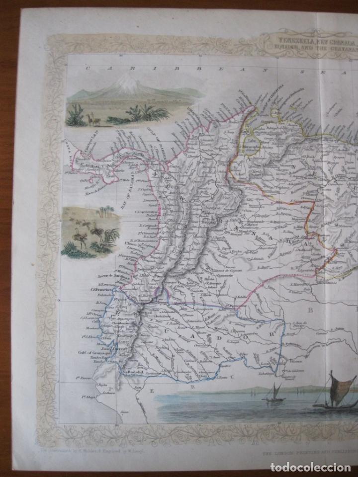 Arte: Mapa de las Guayanas, Venezuela, Colombia, y Ecuador (América del sur), 1855. Tallis/Rapkin - Foto 4 - 230271975