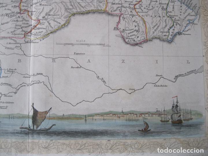 Arte: Mapa de las Guayanas, Venezuela, Colombia, y Ecuador (América del sur), 1855. Tallis/Rapkin - Foto 5 - 230271975