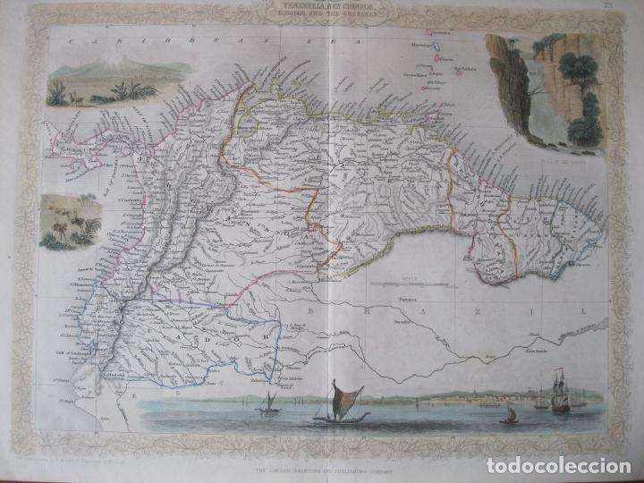 MAPA DE LAS GUAYANAS, VENEZUELA, COLOMBIA, Y ECUADOR (AMÉRICA DEL SUR), 1855. TALLIS/RAPKIN (Arte - Cartografía Antigua (hasta S. XIX))