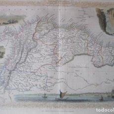 Arte: MAPA DE LAS GUAYANAS, VENEZUELA, COLOMBIA, Y ECUADOR (AMÉRICA DEL SUR), 1855. TALLIS/RAPKIN. Lote 230271975