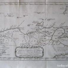 Arte: MAPA DEL NORTE DE VENEZUELA (CARACAS, ISLA MARGARITA...), 1754. BELLIN. Lote 230273085