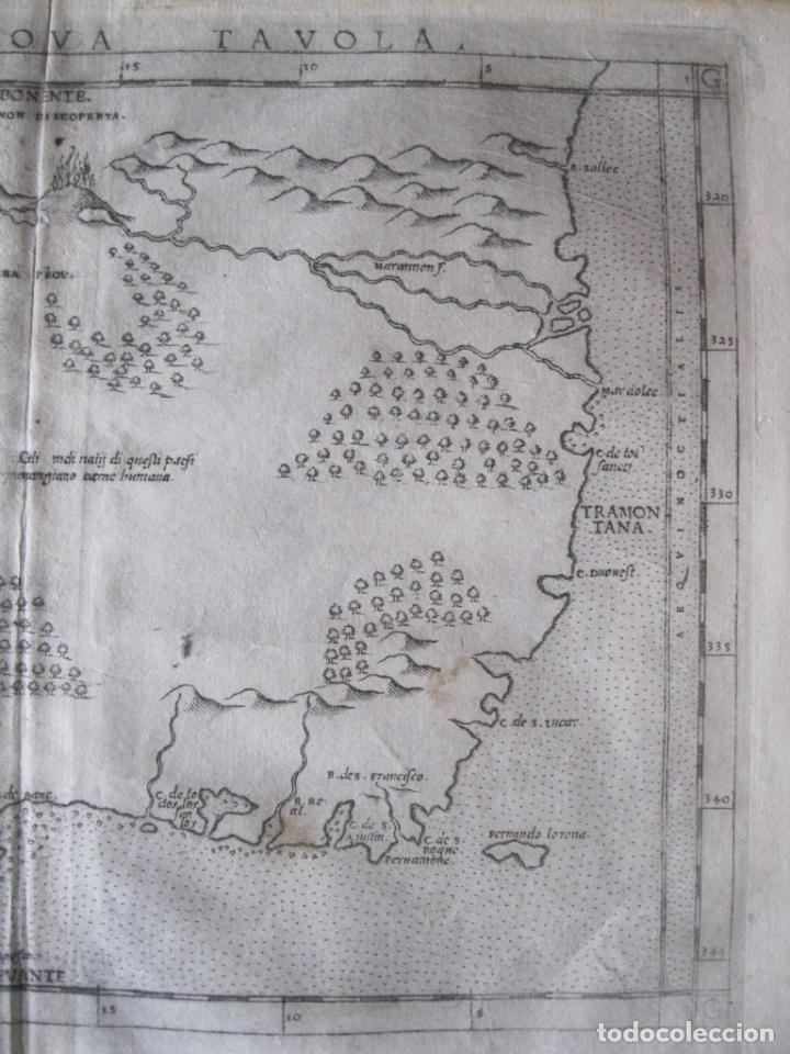 Arte: Antiguo mapa de Brasil (América del sur), 1574. Ptolomeo/Ruscelli - Foto 3 - 230294000
