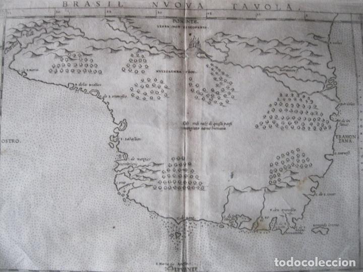 Arte: Antiguo mapa de Brasil (América del sur), 1574. Ptolomeo/Ruscelli - Foto 5 - 230294000