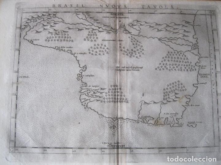 ANTIGUO MAPA DE BRASIL (AMÉRICA DEL SUR), 1574. PTOLOMEO/RUSCELLI (Arte - Cartografía Antigua (hasta S. XIX))
